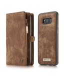 Brown Leather Flip Cover Magnetic Wallet Case